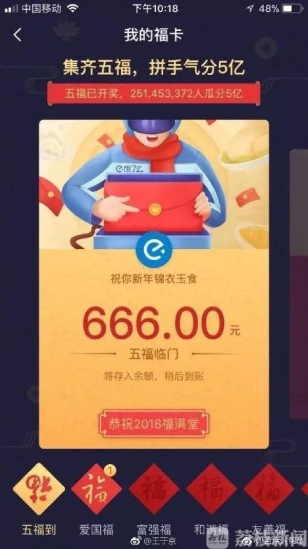 33亿人集齐五福微信红包被挤爆应用商城也崩了……你的呢?